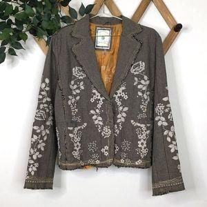 Paparazzi Floral Embroidered Plaid Blazer Jacket